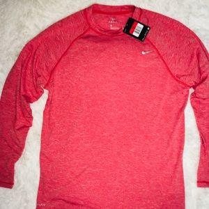 Nike Dri Fit Burst Red Long Sleeve Men's Shirt LG